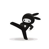Vector illustration of kicking cute bunny ninja isolated on white background