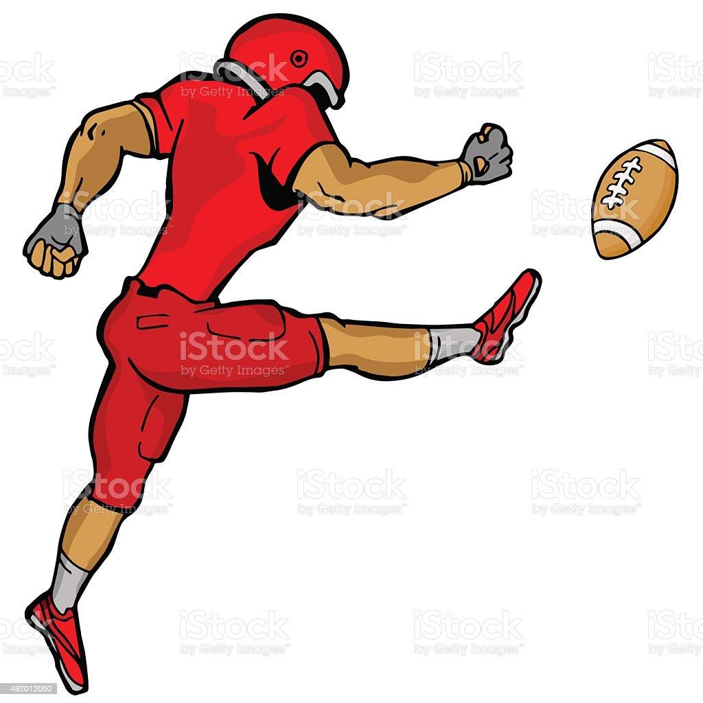 Kicking Football Player vector art illustration