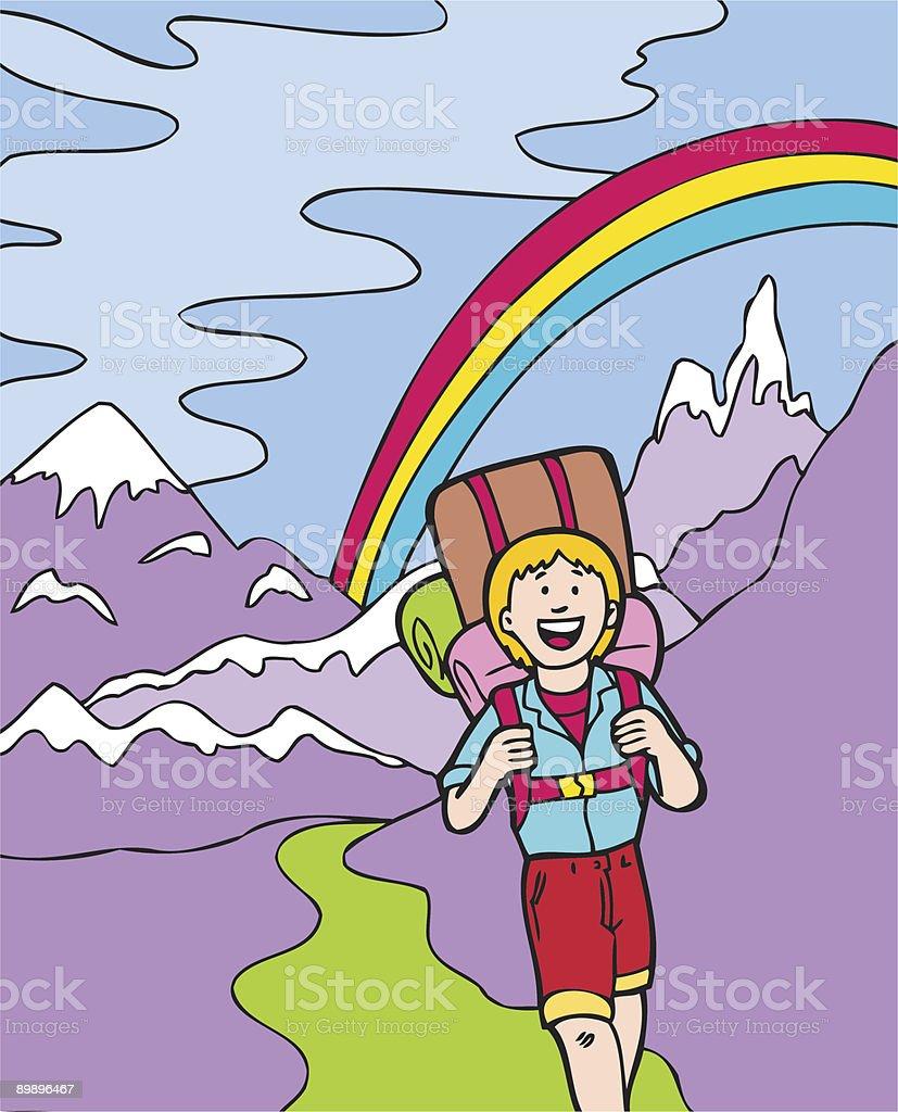 Kid Abenteuer: Wandern in die Berge Lizenzfreies kid abenteuer wandern in die berge stock vektor art und mehr bilder von abenteuer