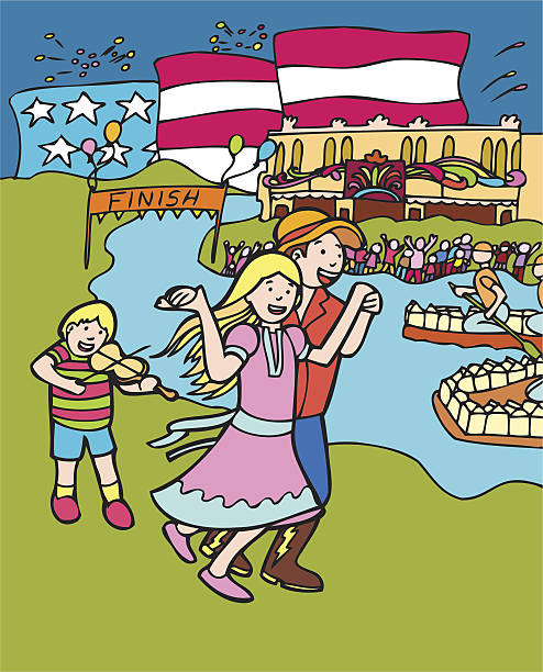 kid adventures: square dance festival - family 4th of july 幅插畫檔、美工圖案、卡通及圖標