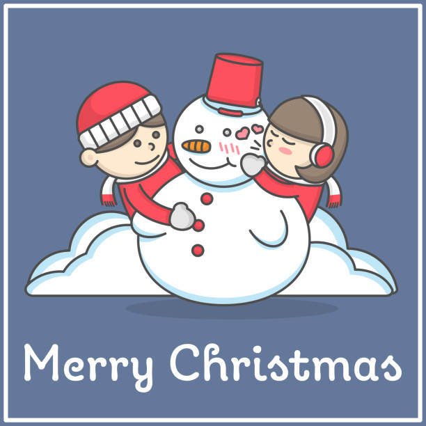 illustrazioni stock, clip art, cartoni animati e icone di tendenza di kid always love snowman in flat cartoon in flat cartoon design for book decoration and design elements. merry christmas cartoon vector illustration. - kids kiss embarrassed