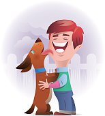 vector illustration of happy kid playing with dog..