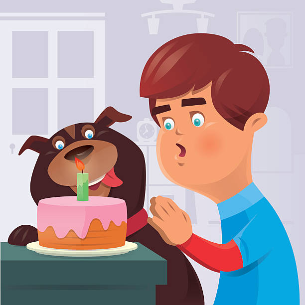kid and dog with birthday cake - wunschkinder stock-grafiken, -clipart, -cartoons und -symbole