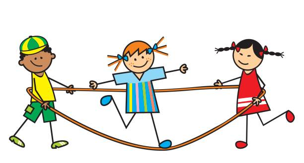 kid and elastic cord Kid and elastic cord, vector illustration. Leisure activity. Two girls and boy. garden center stock illustrations