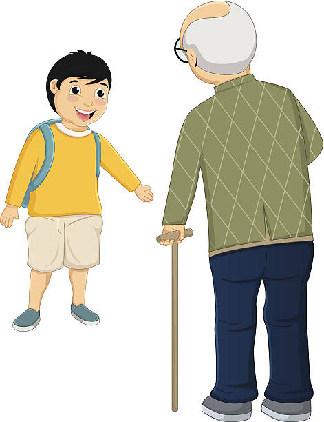 kid and old man vector illustration - old man crying clip art stock illustrations, clip art, cartoons, & icons