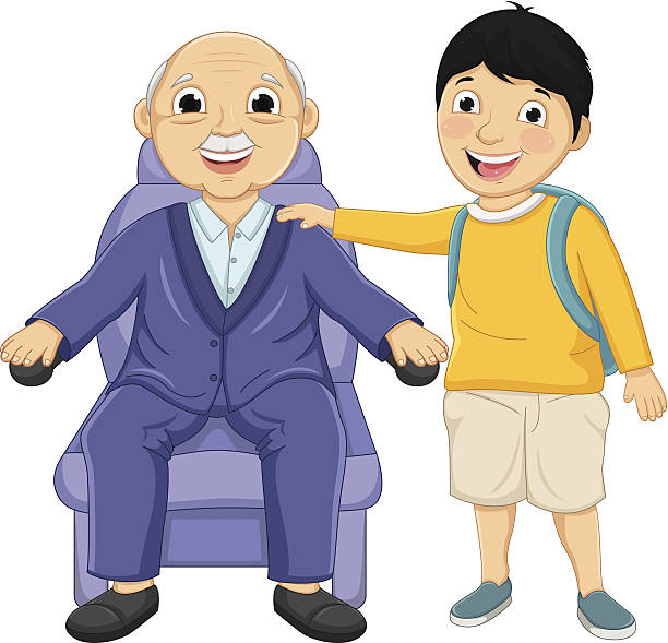 kid and old man vector illustration - old man clipart stock illustrations, clip art, cartoons, & icons