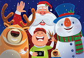 vector illustration of kid and santa claus taking selfie