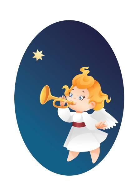 engel musiker fliegen am nachthimmel, fanfare, trompete, ein weihnachtsfest auffordern sterne machen kid - fanfare stock-grafiken, -clipart, -cartoons und -symbole