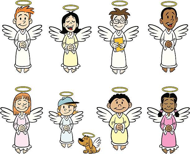 kid angels - schutzengel stock-grafiken, -clipart, -cartoons und -symbole