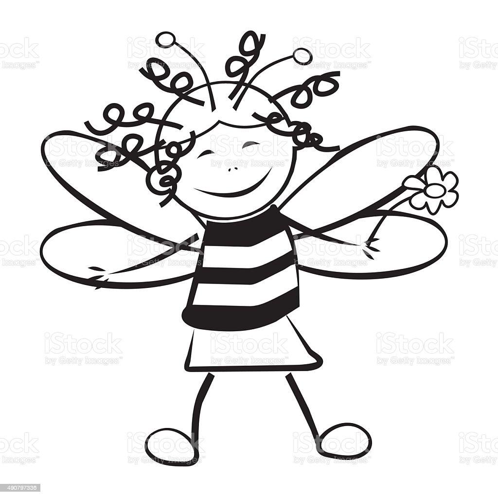 kid als Biene, Färben – Vektorgrafik
