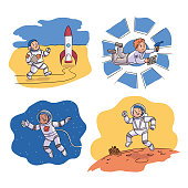 Funny kid astronaut wearing costume scene set. Boy going to rocket, flying in open space, working in gravity on spaceship, walking on moon surface near moonwalker robot. Vector Illustration