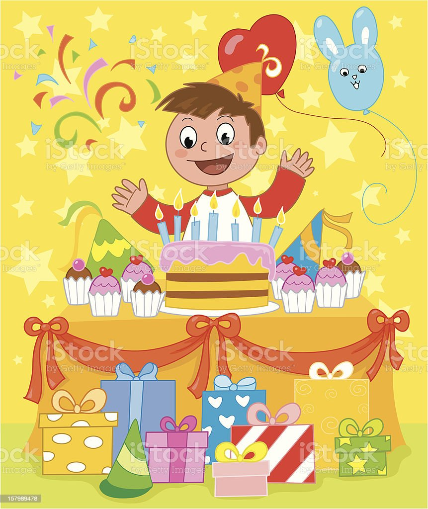 Kid at birthday party royalty-free kid at birthday party stock vector art & more images of 6-7 years