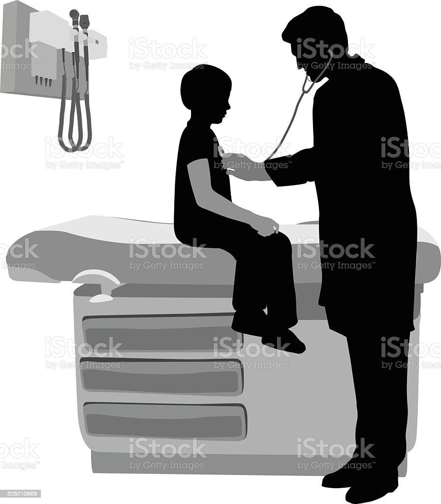 Kid At Doctors Office vector art illustration
