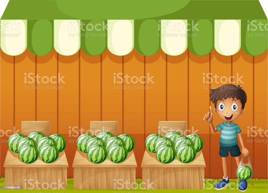 Kid at the watermelon fruitstands royalty-free stock vector art