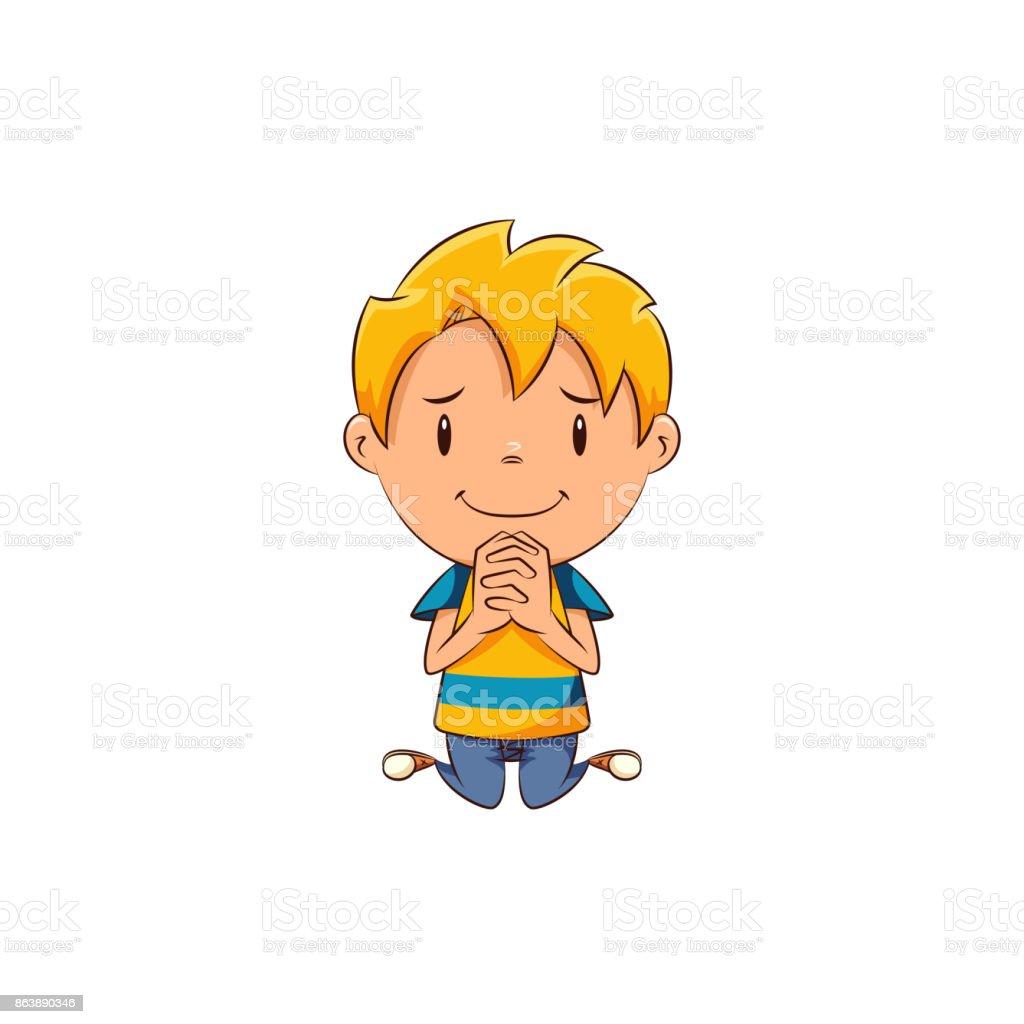 Kid begging vector art illustration