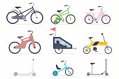 Bicycles, bike, scooter vector flat icon set.