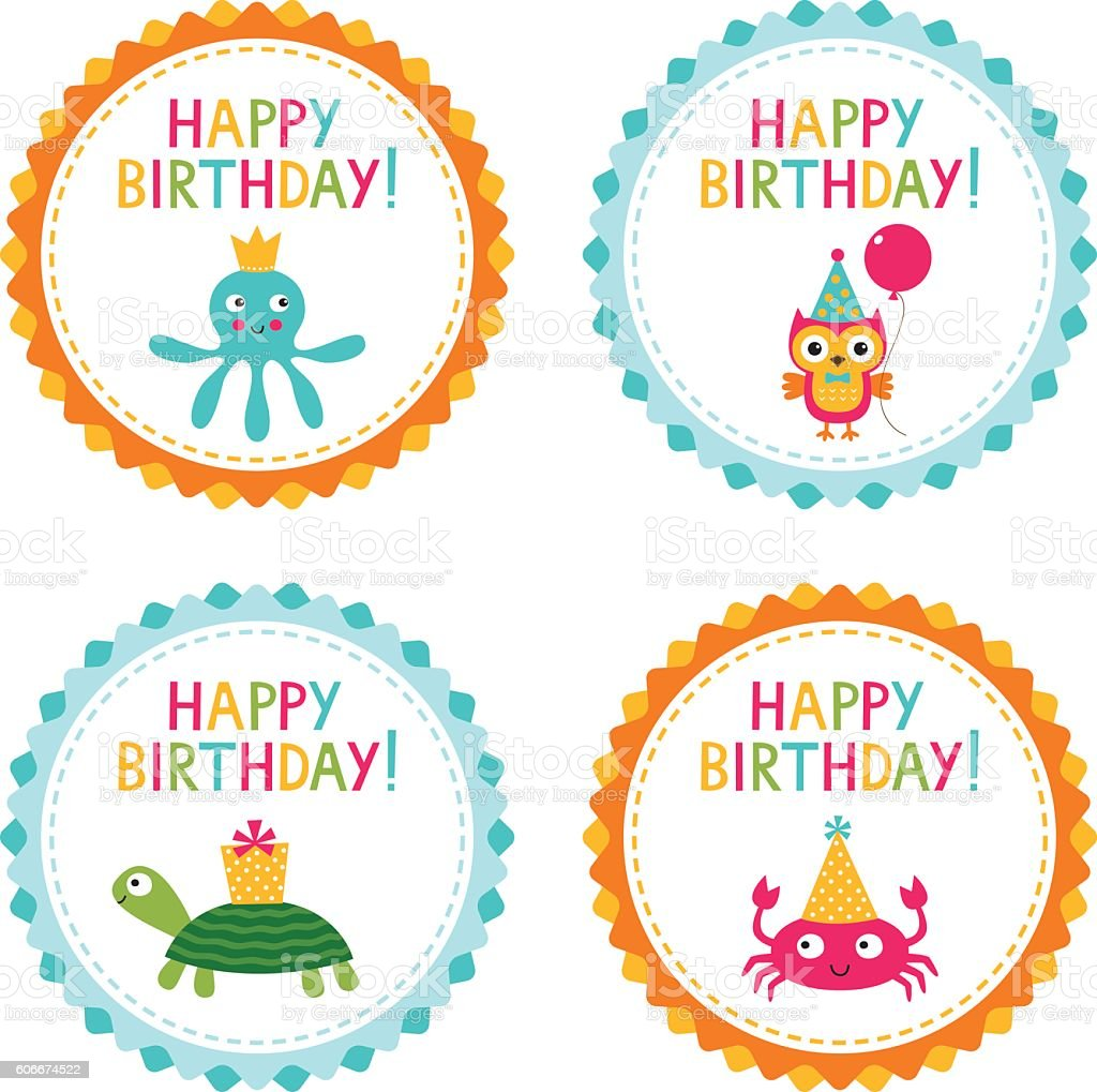 Kid Birthday Party Vector Badges Set Stock Vector Art More Images