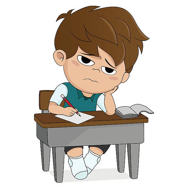 kid boring about someting.back to school. vector art illustration
