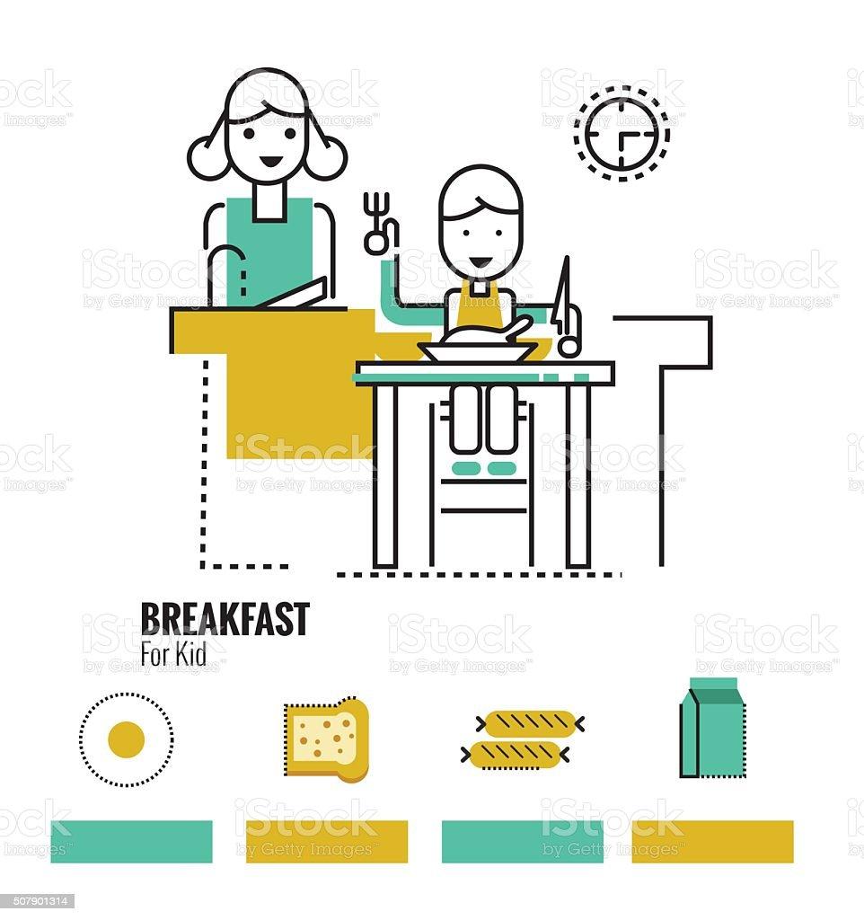 kid boy eating healthy food at home. vector art illustration