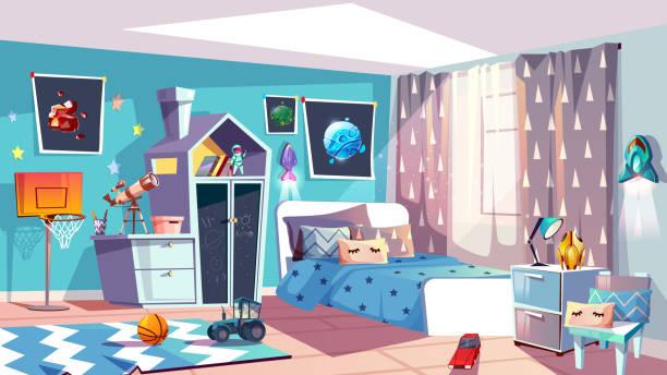 stockillustraties, clipart, cartoons en iconen met kid jongen moderne kamer interieur vector illustratie - photography curtains