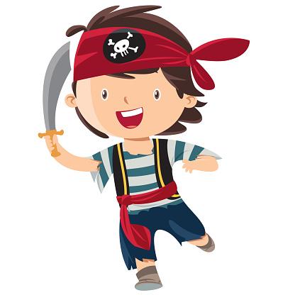 Kid boy pirate cartoon