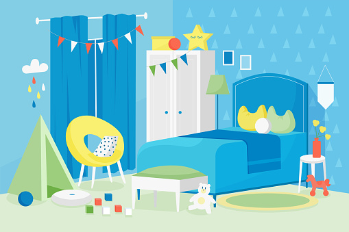 Kid boy room interior vector illustration, cartoon flat modern empty blue children bedroom in house apartment with bed, window, toys for games
