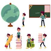 Kid, boy, schoolboy doing school acitivities