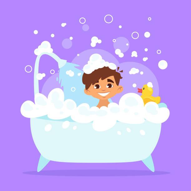 bildbanksillustrationer, clip art samt tecknat material och ikoner med kid boy tar en fladdermus - baby bathtub