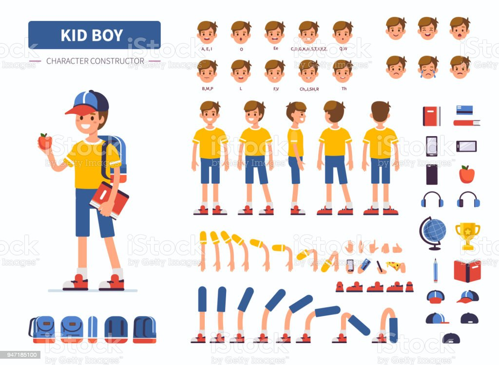 kid boy vector art illustration