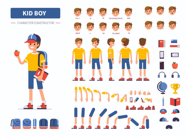 kid boy - cartoon kids stock illustrations, clip art, cartoons, & icons