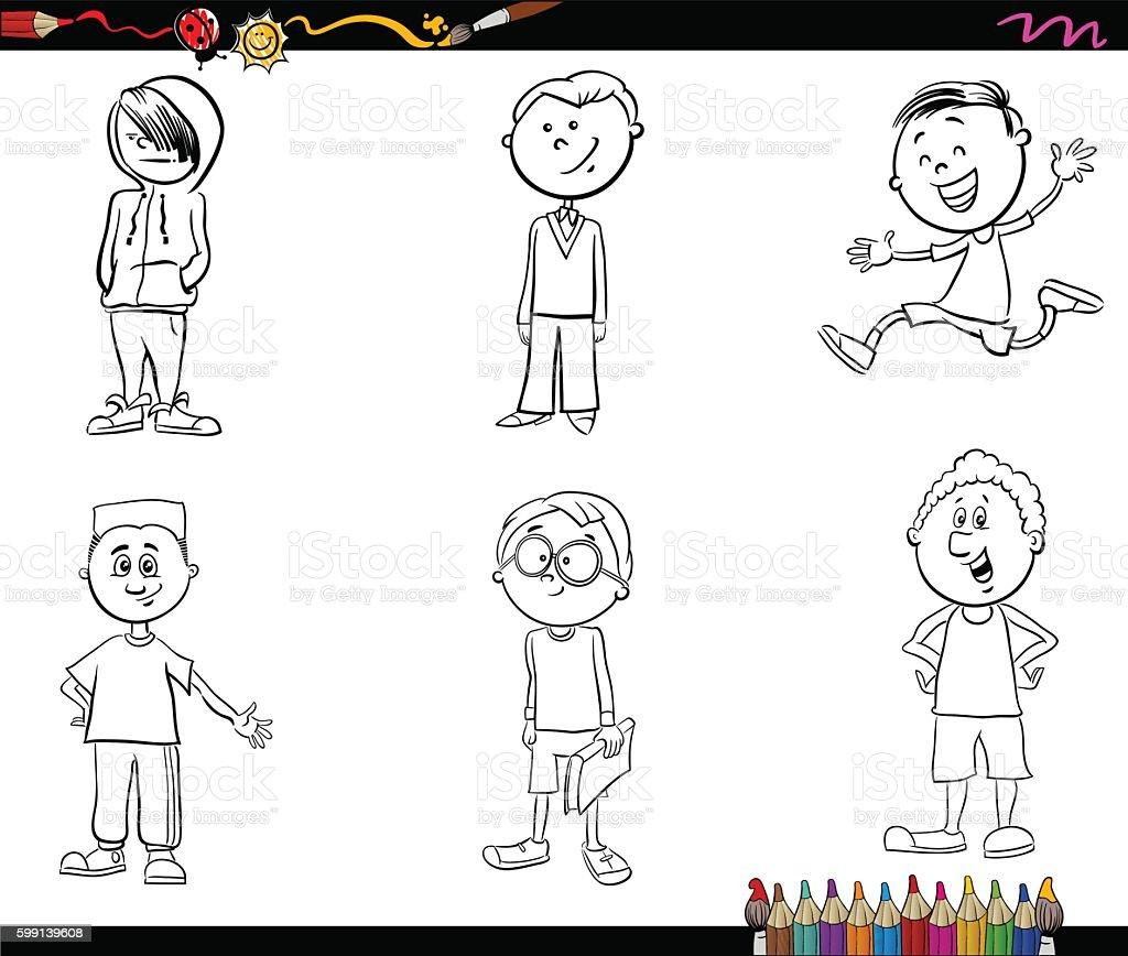 Garçon Ensemble Livre De Coloriage Pour Enfant Vecteurs Libres De