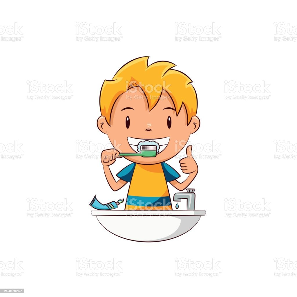 royalty free kids brushing teeth clip art vector images rh istockphoto com brush my teeth clipart toothbrush clipart images
