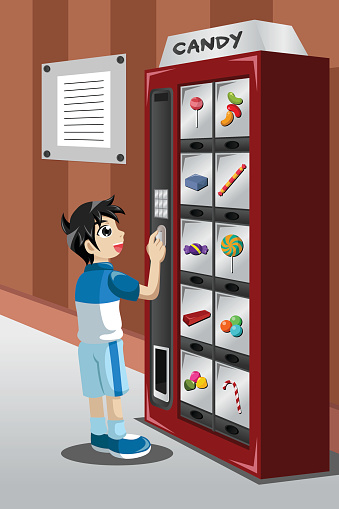 Kid Buying Candy From A Vending Machine Stock Illustration ...