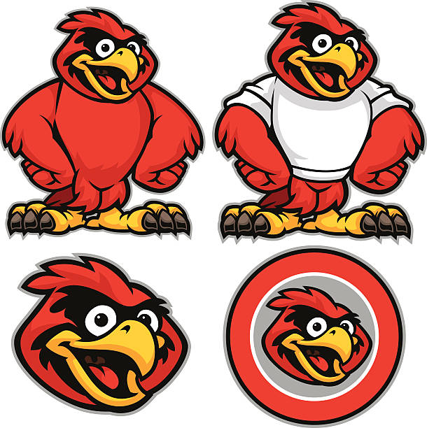 kid cardinal youth pack - cardinal mascot stock illustrations, clip art, cartoons, & icons