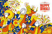 illustration of kid celebrating happy Diwali Holiday doodle background for light festival of India