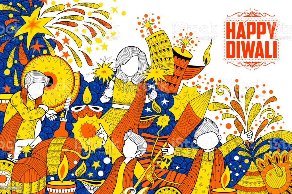 Kid celebrating happy Diwali Holiday doodle background for light festival ベクターアートイラスト