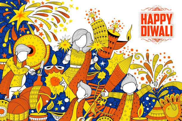 kid celebrating happy diwali holiday doodle background for light festival - diwali stock illustrations, clip art, cartoons, & icons