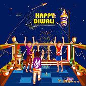 easy to edit vector illustration of kid celebrating Happy Diwali holiday India background