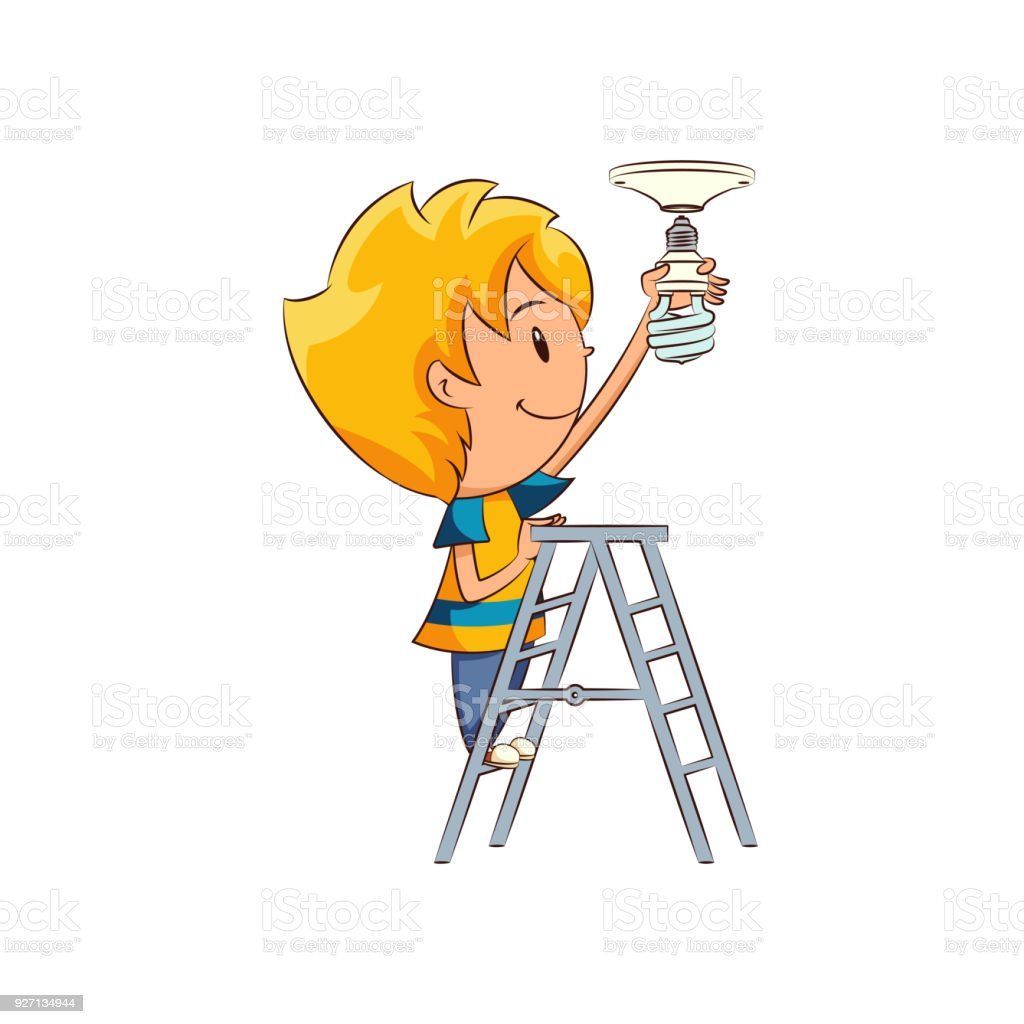 Kid Changing Light Bulb Stock Vector Art More Images Of Adult Wiring A Royalty Free Amp