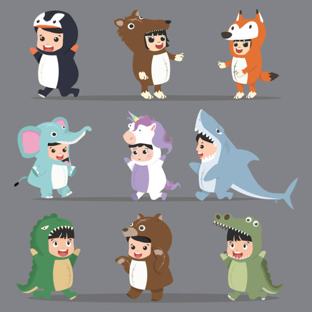 kid characters in Animals costumes Set kid characters in Animals costumes Set animal costume stock illustrations