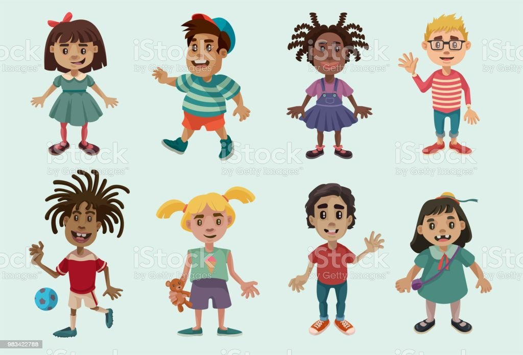 Kid Characters Set 1 vector art illustration