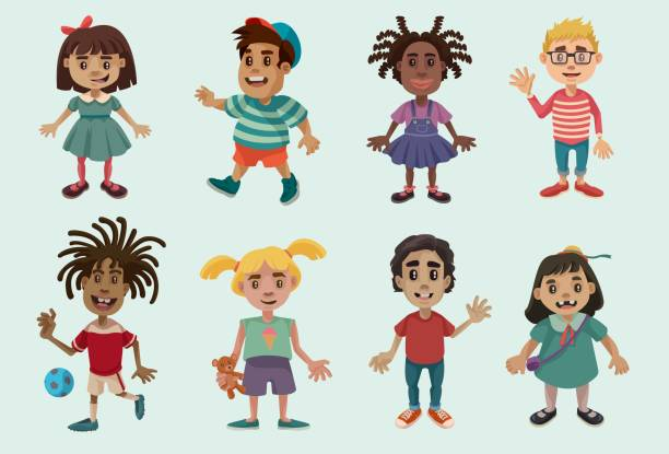 Kid Characters Set 1 vector art illustration