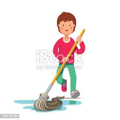 Kid Cleaning Floor With Dust Mop Wet Broom Stock Vector