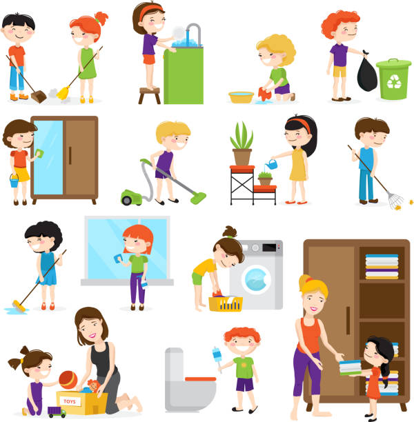 kid cleaning set Colorful cartoon set with kids cleaning rooms and helping their mums isolated on white background vector illustration chores stock illustrations