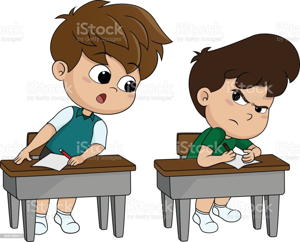 kid copying from other student's paper during examination. vector art illustration