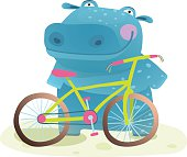 Happy fun wild animal doing bicycle sport for children illustration. Vector drawing.