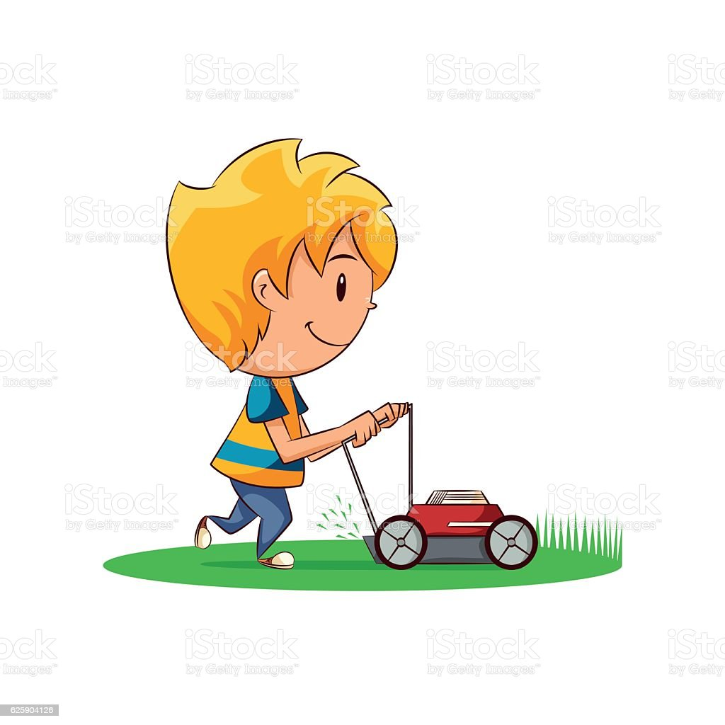 kid cutting the grass stock vector art more images of activity rh istockphoto com man cutting grass clip art Funny Grass-Cutting