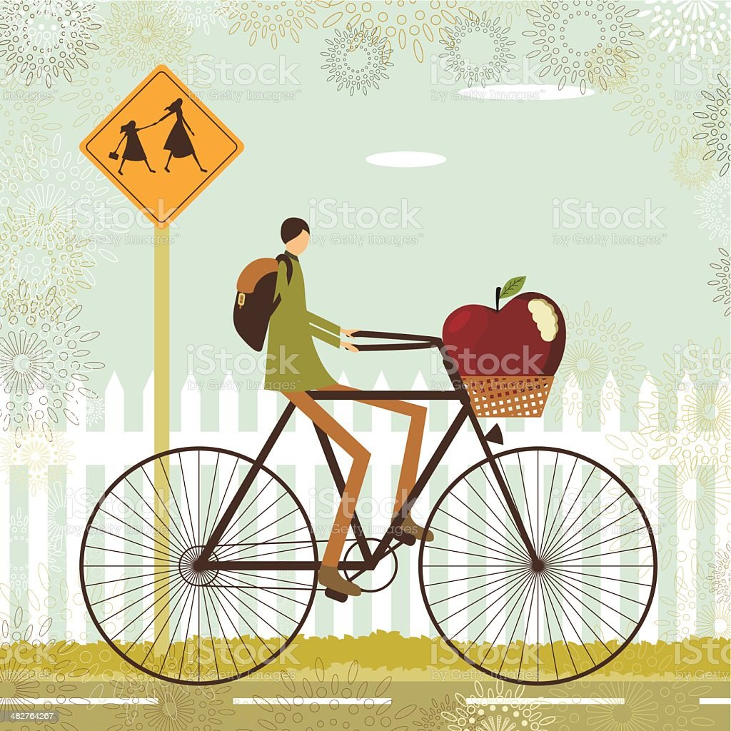 Kid cycling to school royalty-free stock vector art