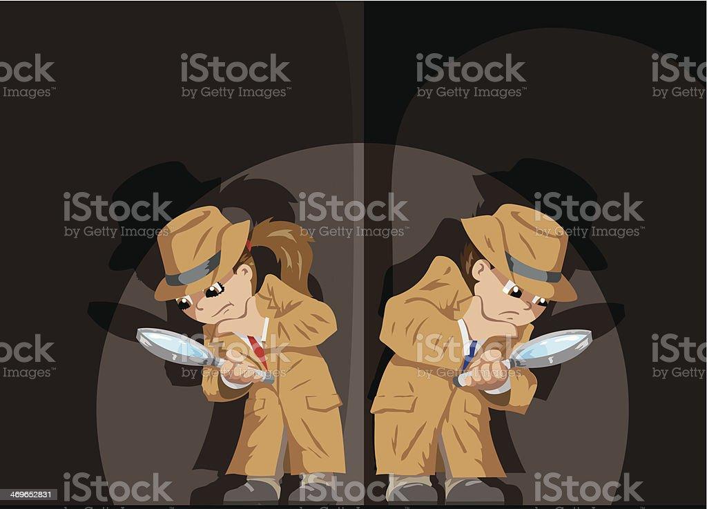 Kid Detectives vector art illustration