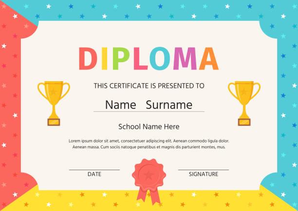 stockillustraties, clipart, cartoons en iconen met kid diploma, certificaat. vector illustratie. cute preschool ontwerp. - certificaat